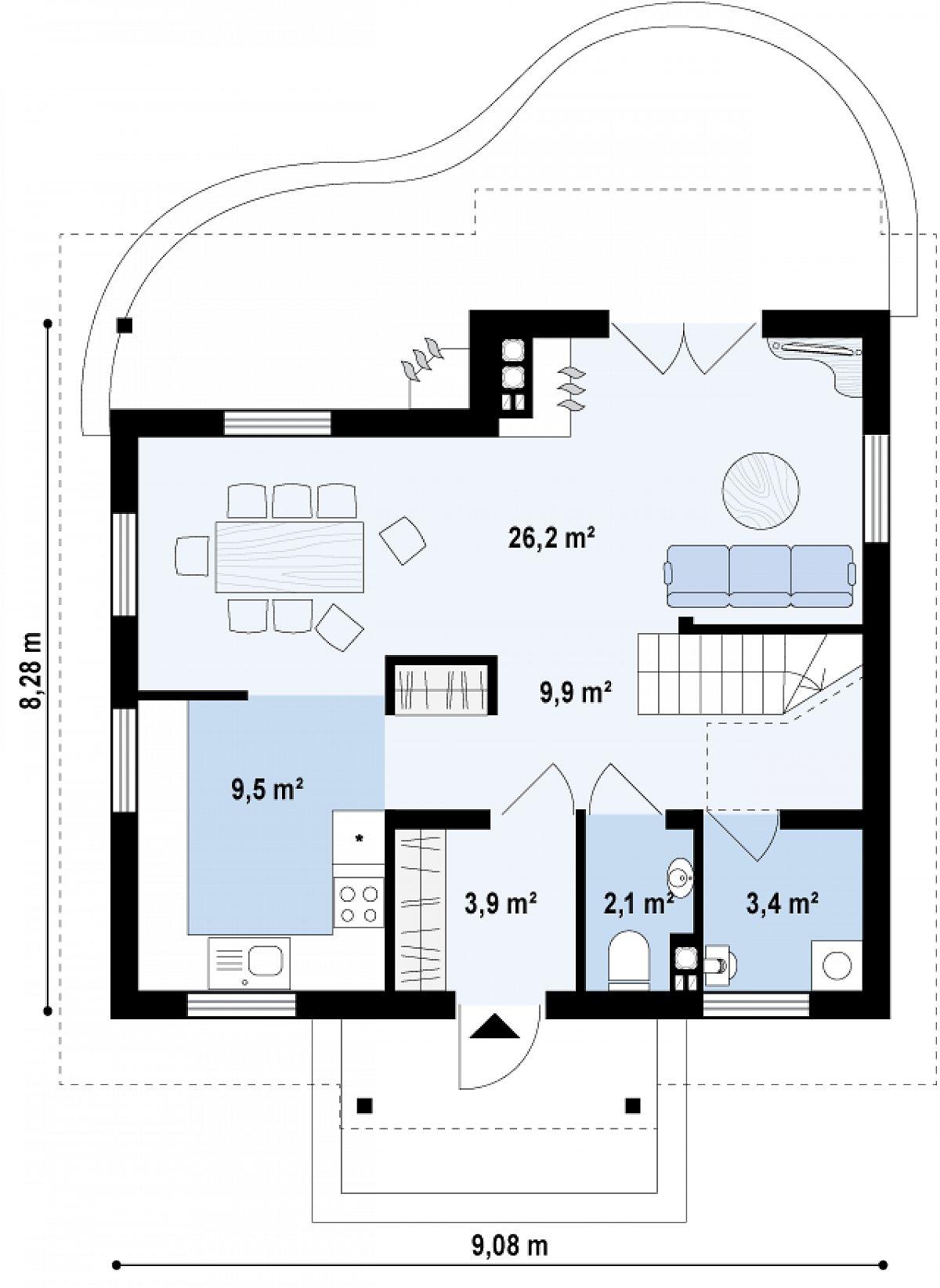 Первый этаж 55,2м² дома Z3