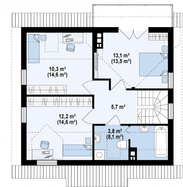 Второй этаж 45,2(56,6м²) дома Z3