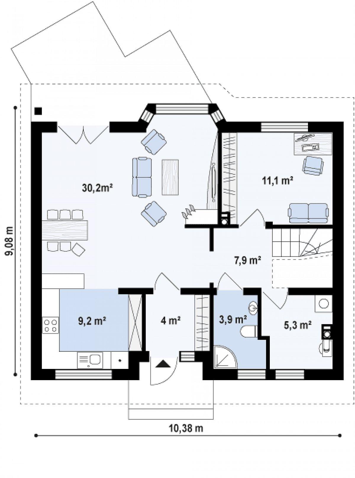 Первый этаж 72,5м² дома Z40 os