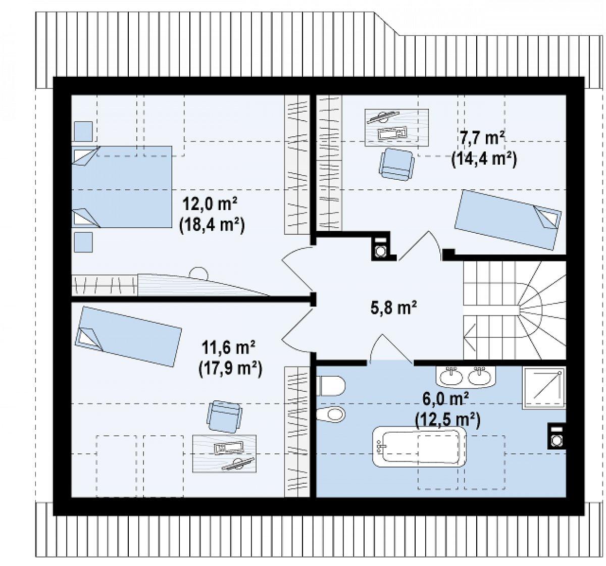 Второй этаж 43,1(69,0м²) дома Z40