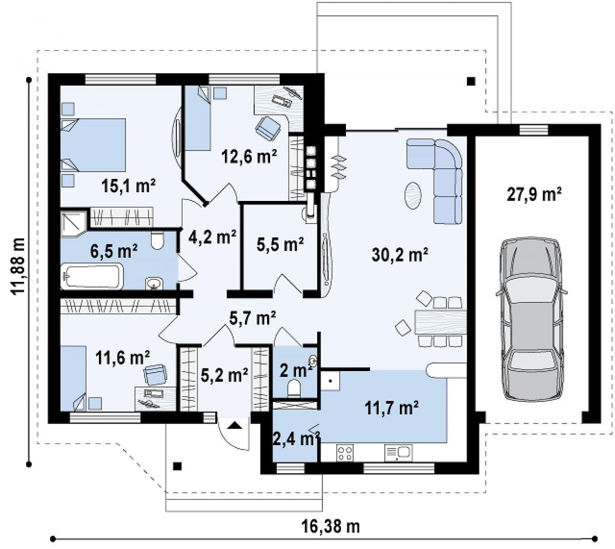 Первый этаж 112,7(140,6м²) дома Z41 GP
