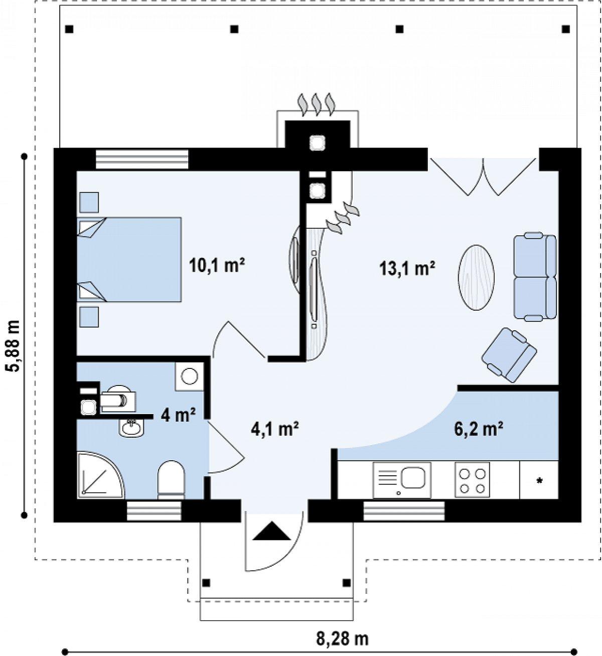 Первый этаж 37,6м² дома Z42