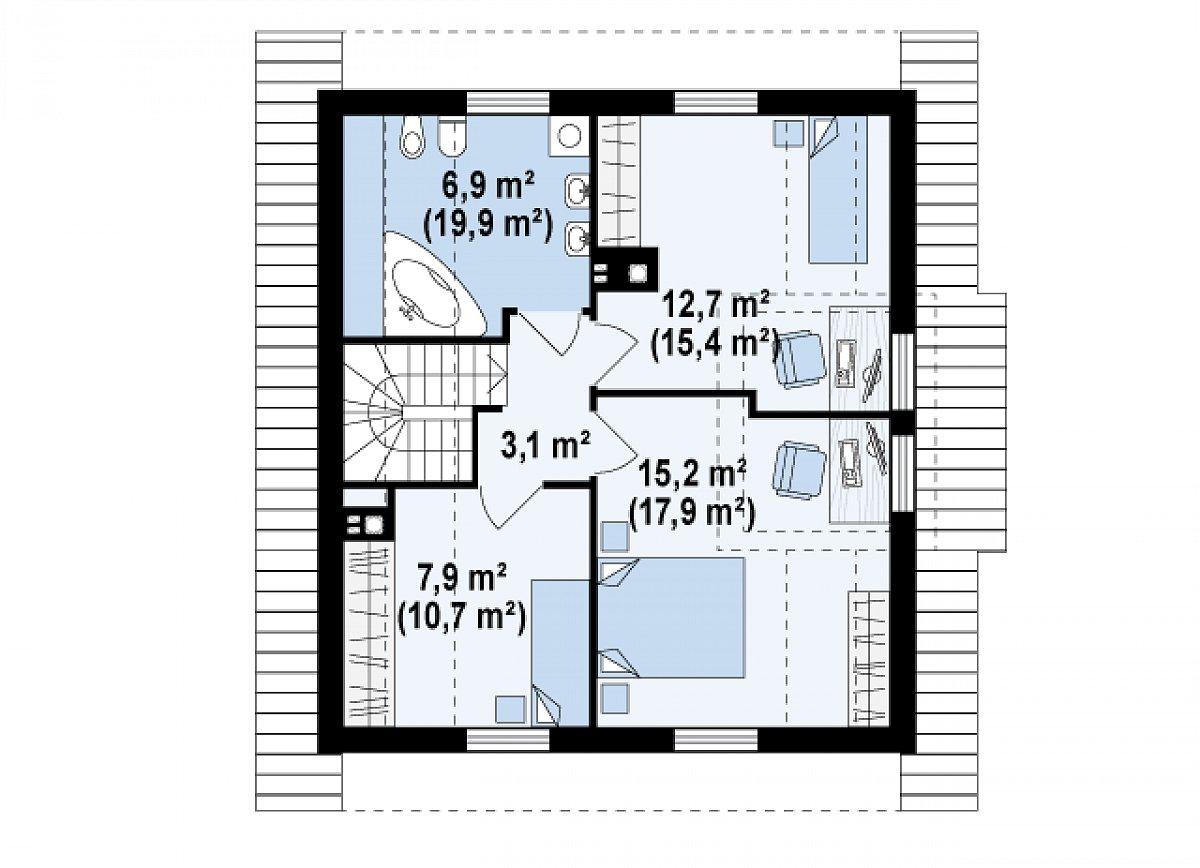 Второй этаж 45,7(57,1м²) дома Z44
