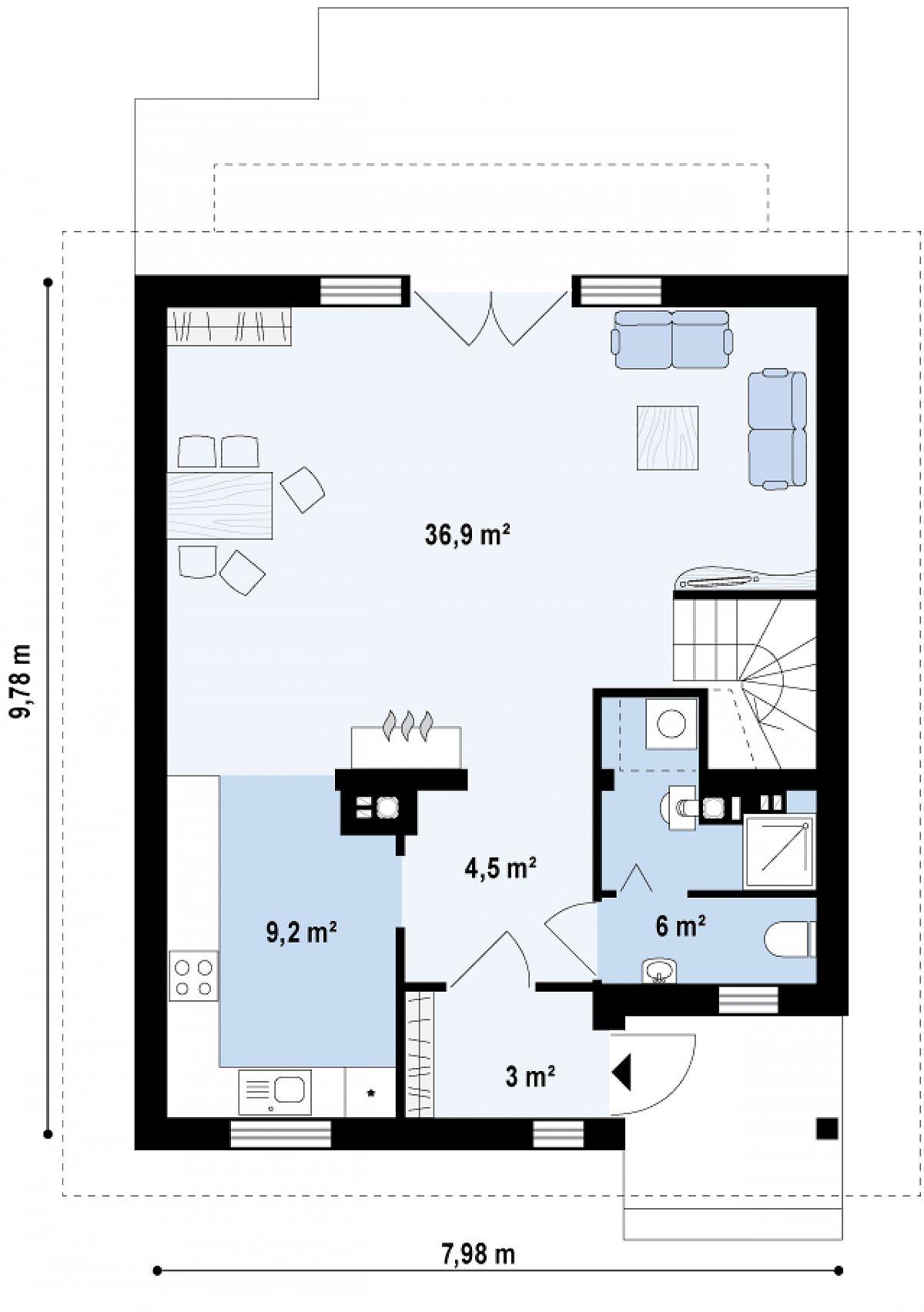 Первый этаж 59,6м² дома Z45