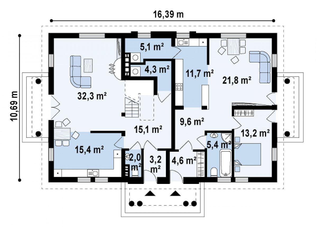 Первый этаж 143,7м² дома Z46