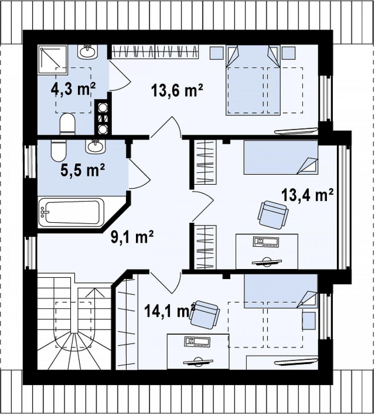 Второй этаж 60,0(60,0м²) дома Z47