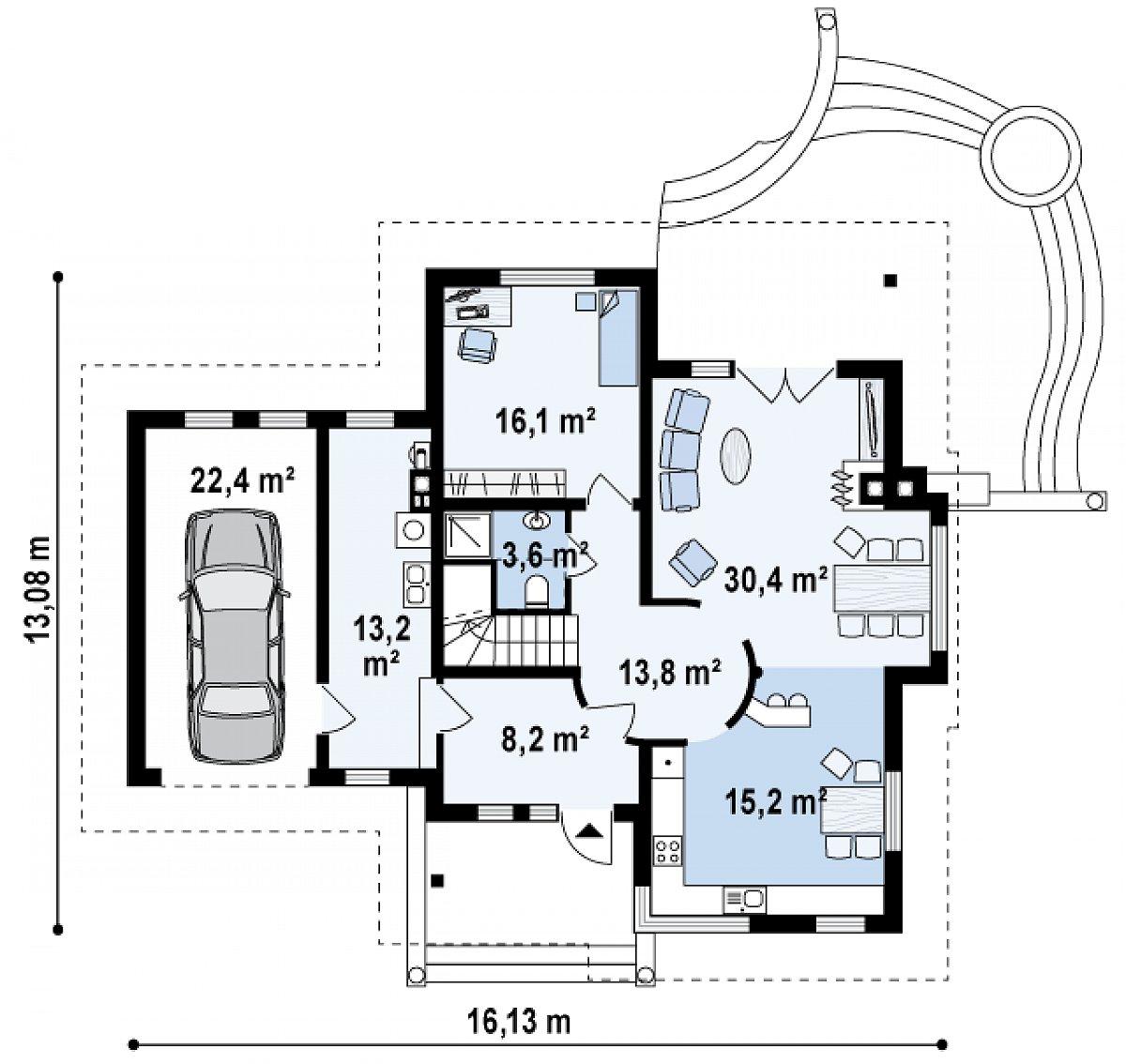 Первый этаж 100,6(123,0м²) дома Z48