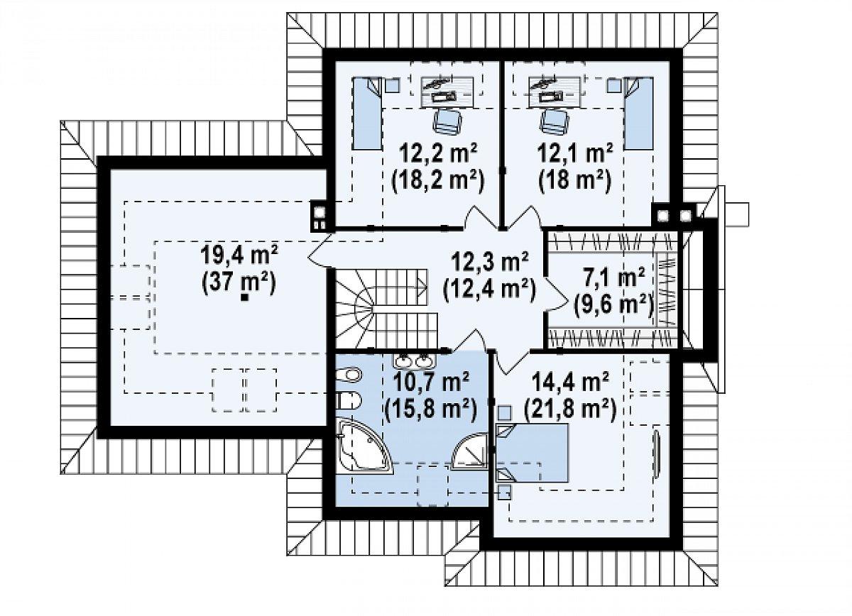 Второй этаж 88,3(132,9м²) дома Z48