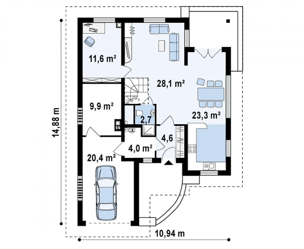 Первый этаж 84,3(104,7м²) дома Z49