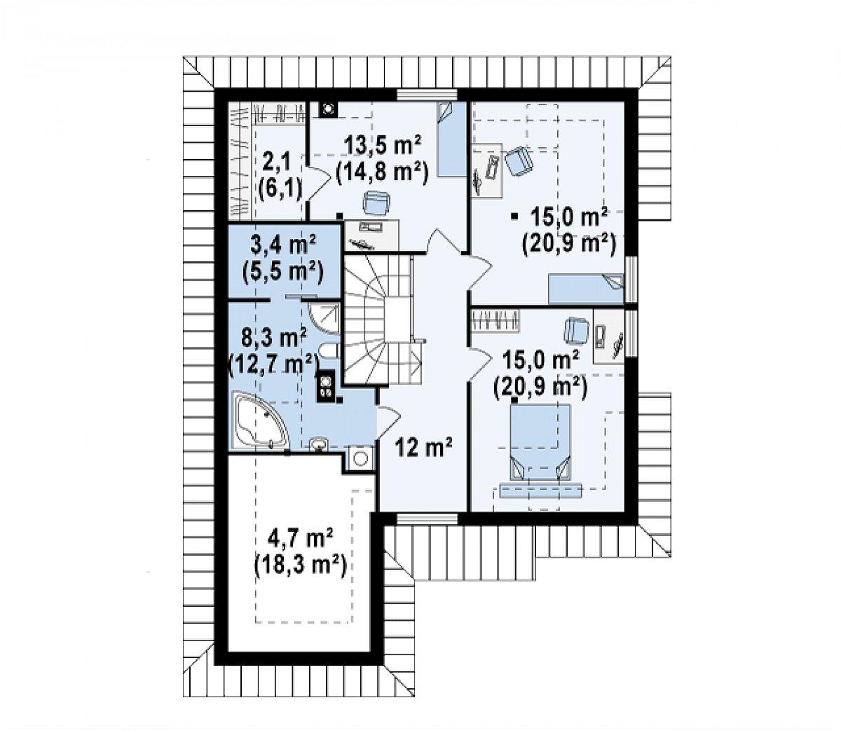 Второй этаж 73,8(111,2м²) дома Z49