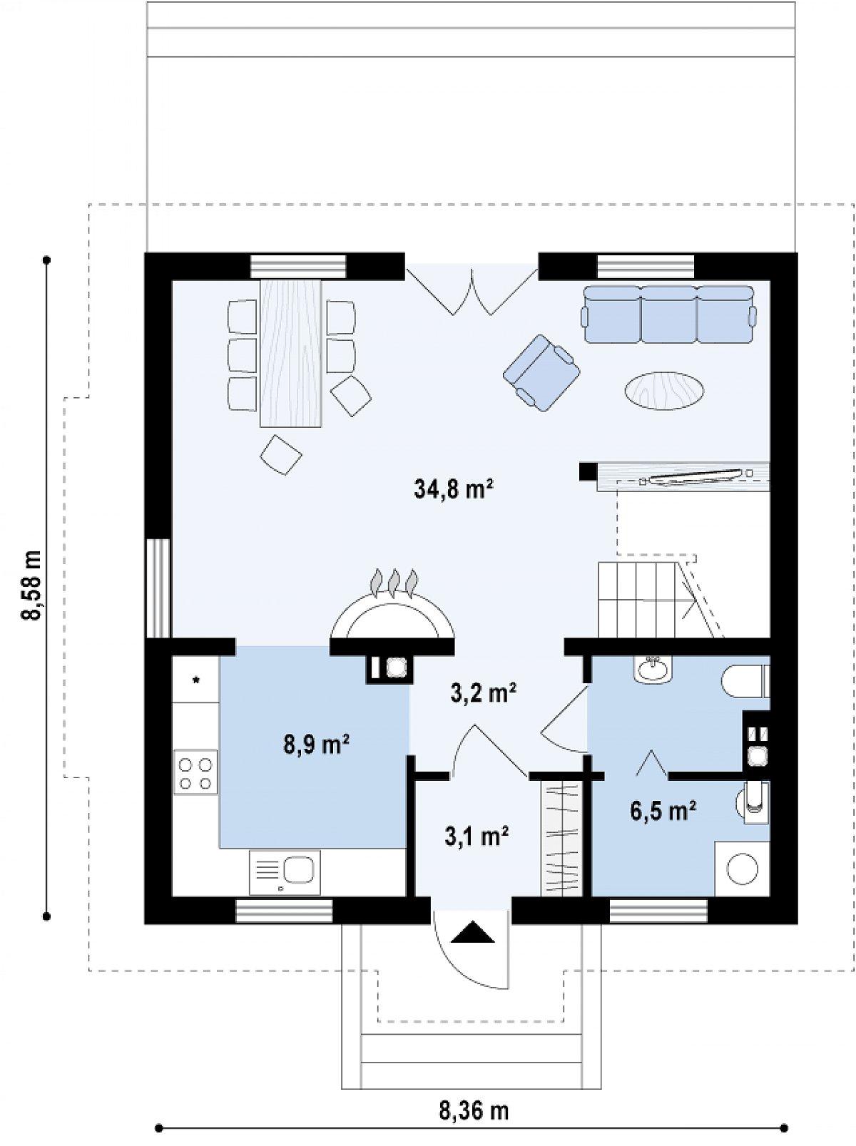 Первый этаж 56,5м² дома Z4
