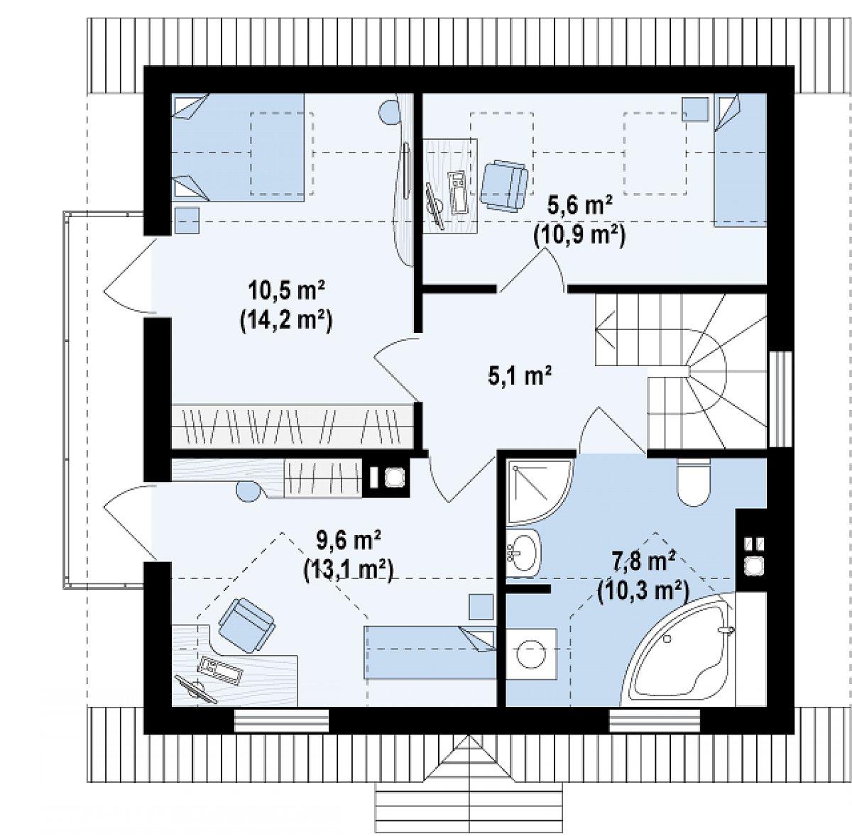 Второй этаж 38,5(53,6м²) дома Z4