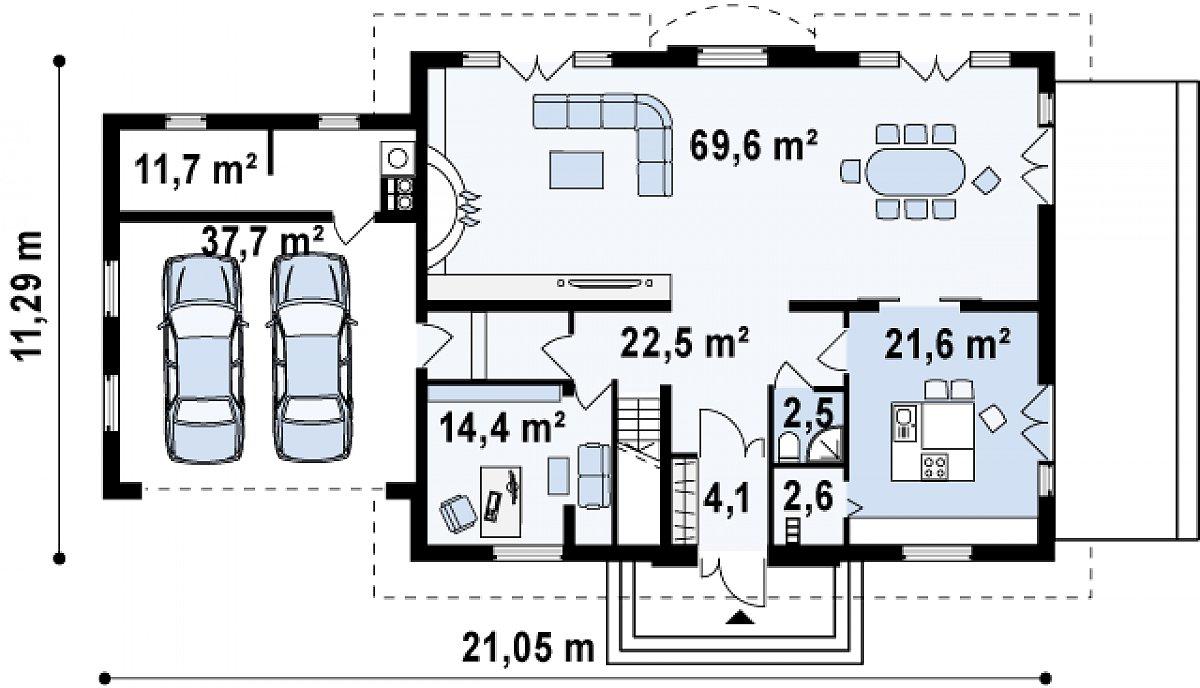 Первый этаж 137,3(186,6м²) дома Z50 A