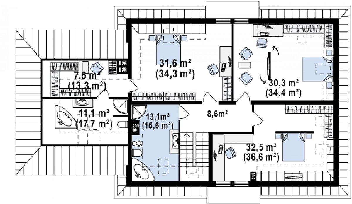 Второй этаж 134,8(156,3м²) дома Z50 A
