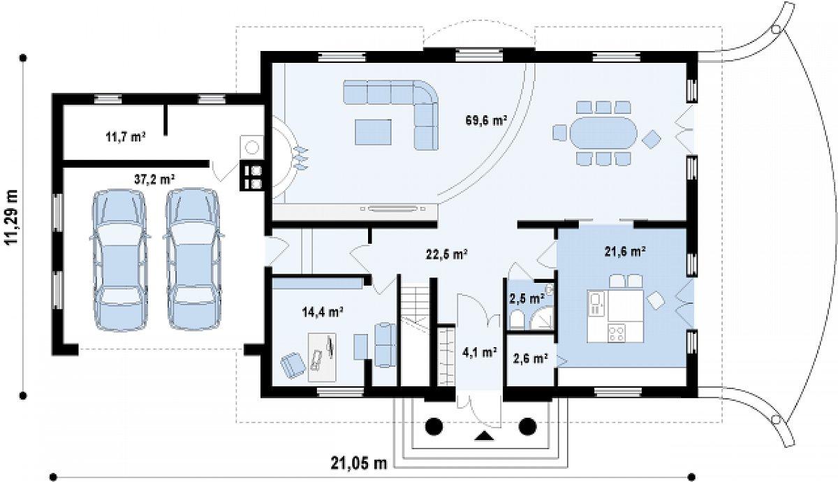 Первый этаж 137,3(174,5м²) дома Z50