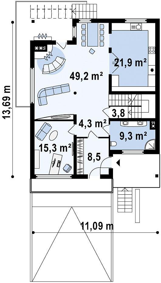 Первый этаж 108,6(108,5м²) дома Z53