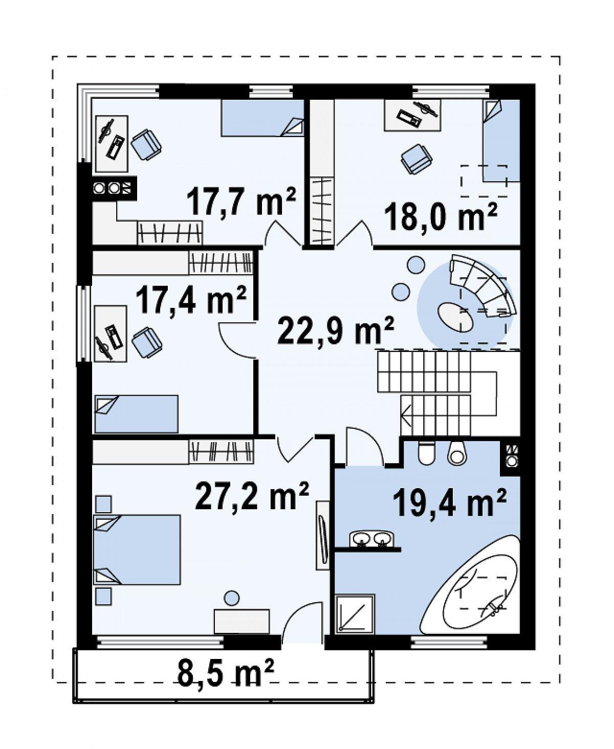 Второй этаж 122,6м² дома Z53