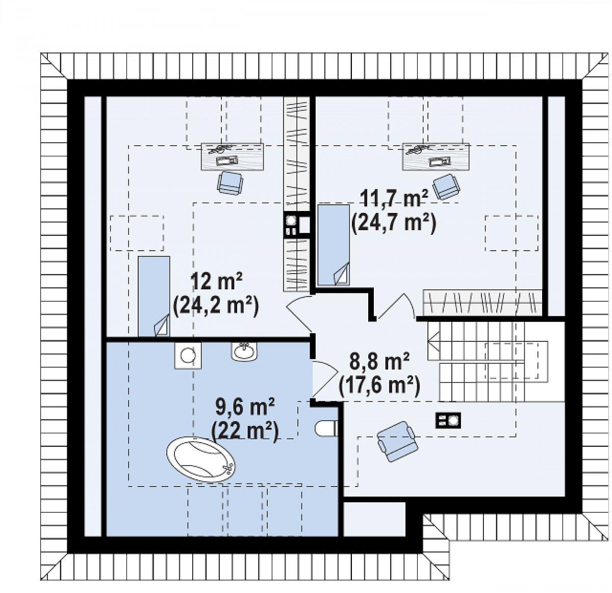 Второй этаж 41,1(87,4м²) дома Z54
