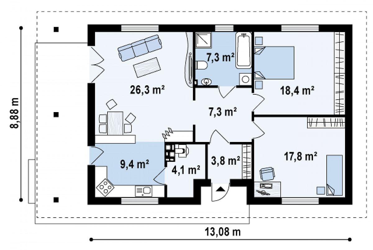 Первый этаж 94,6м² дома Z55