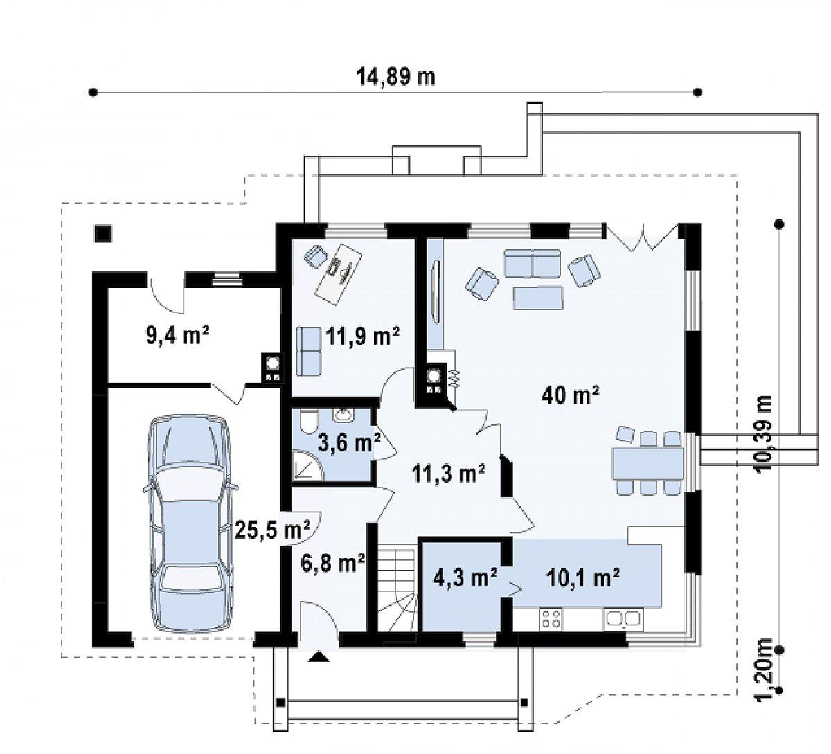 Первый этаж 97,5(123,0м²) дома Z56 A