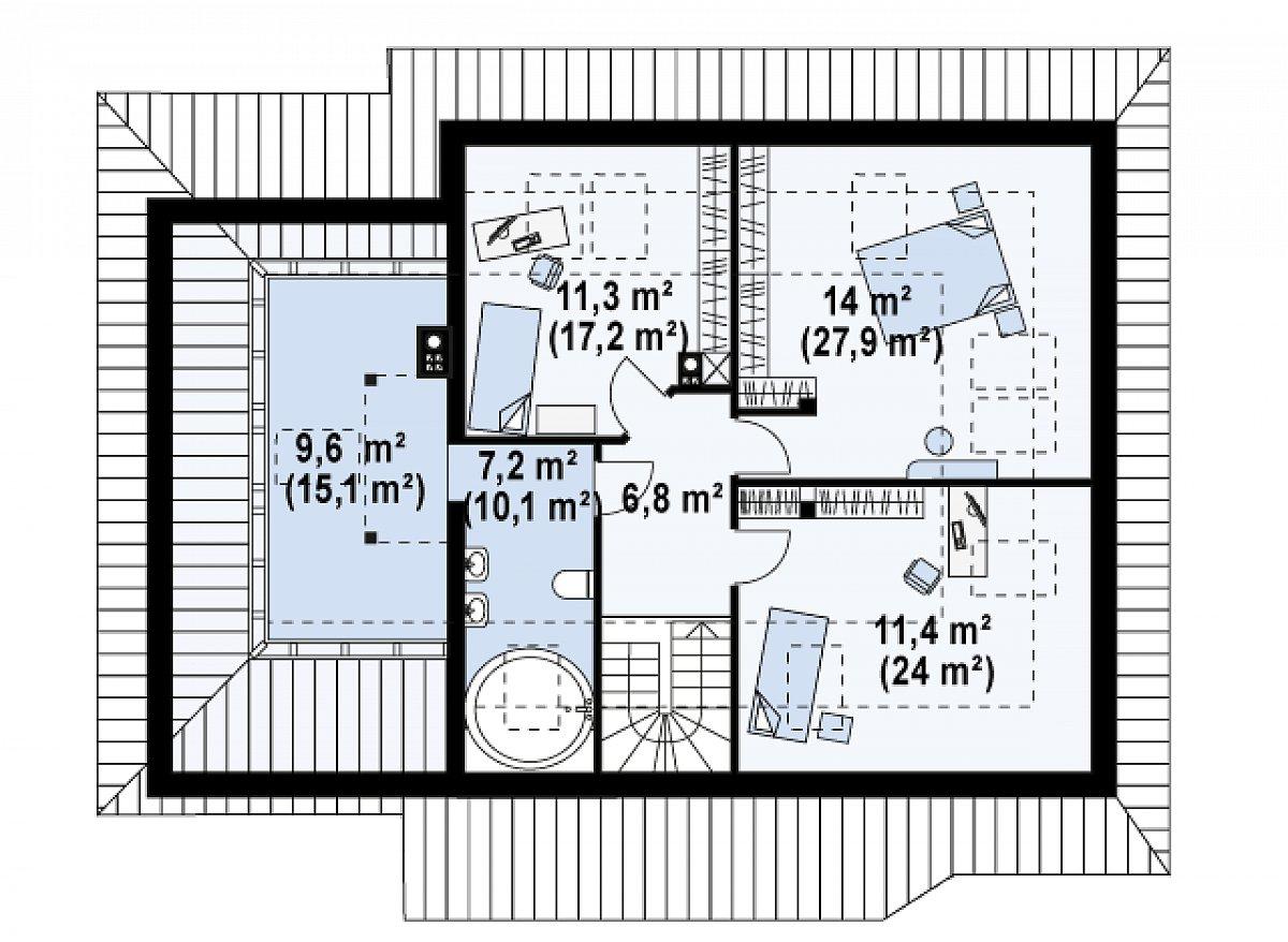 Второй этаж 60,3(101,0м²) дома Z56 A