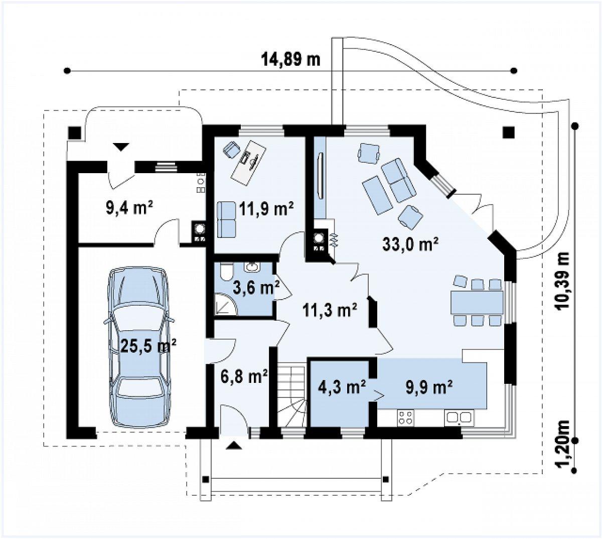 Первый этаж 90,2(115,7м²) дома Z56