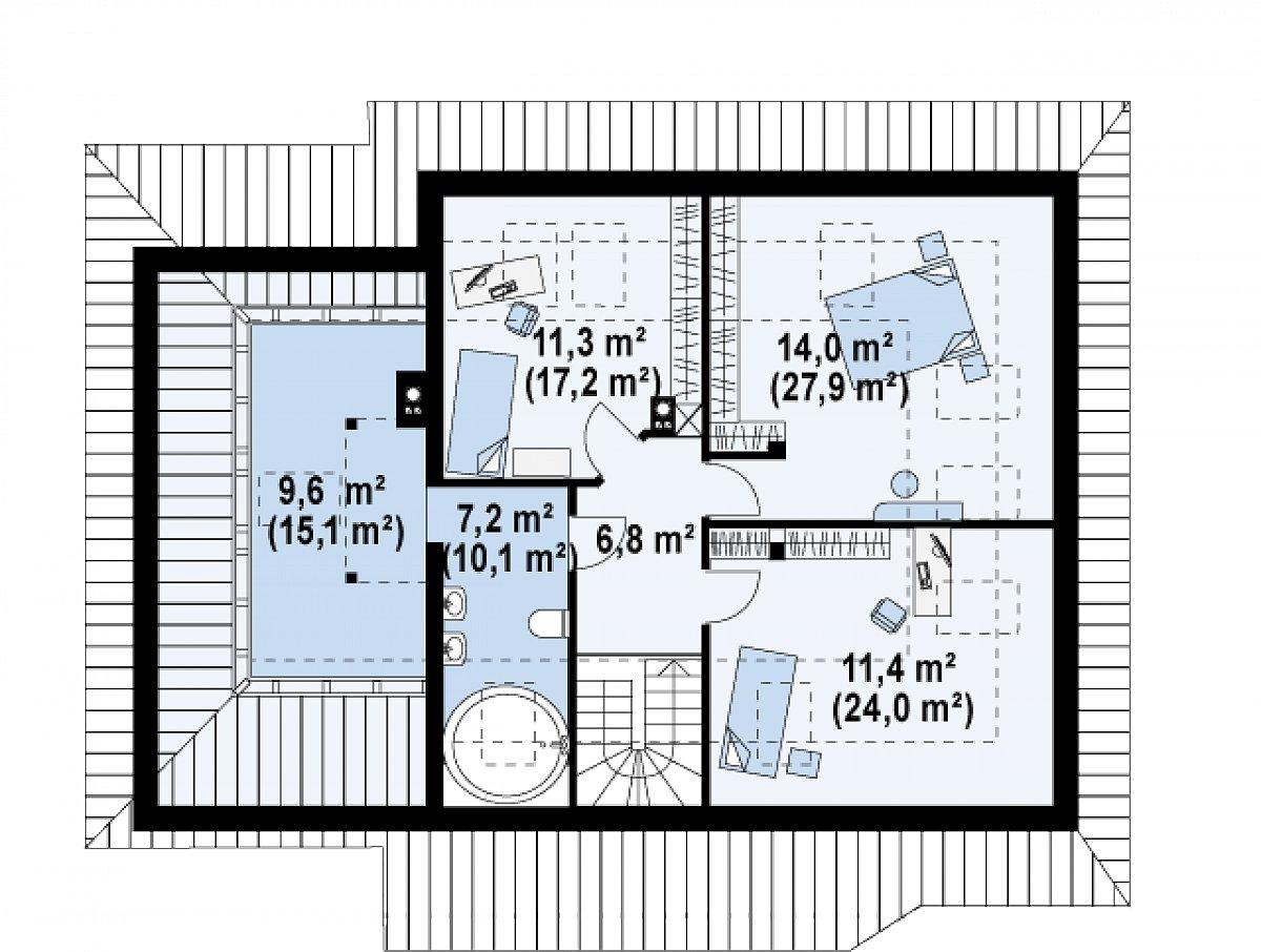 Второй этаж 60,3(101,0м²) дома Z56