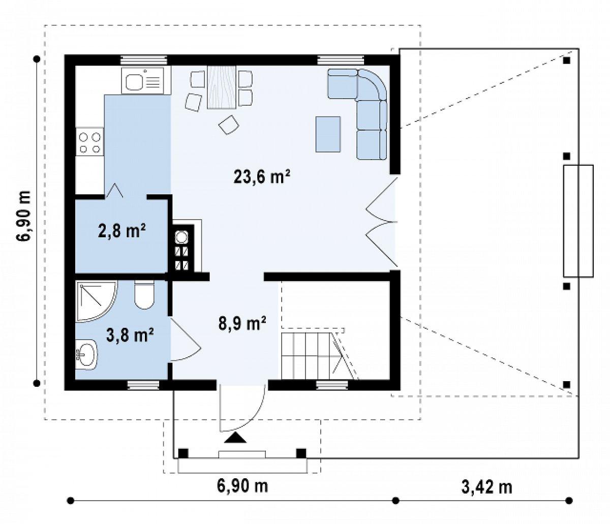 Первый этаж 39,1м² дома Z57