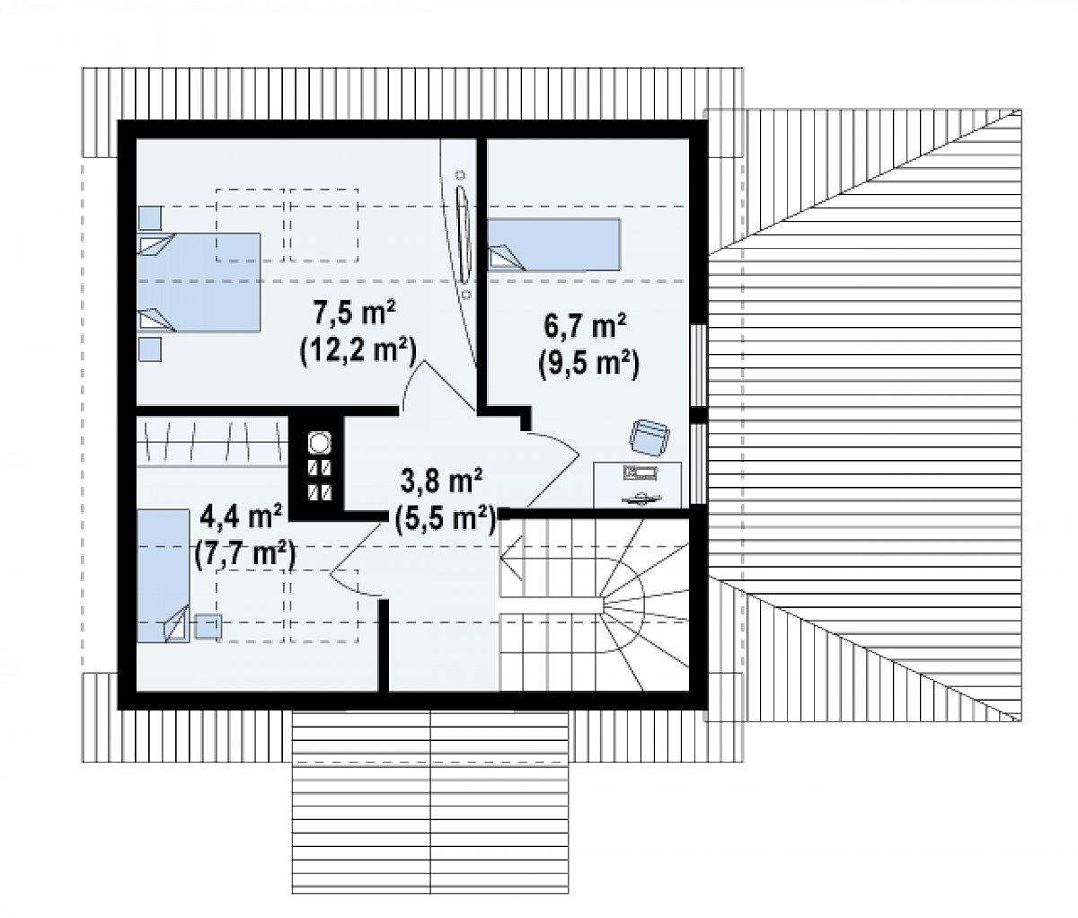 Второй этаж 22,4(34,9м²) дома Z57