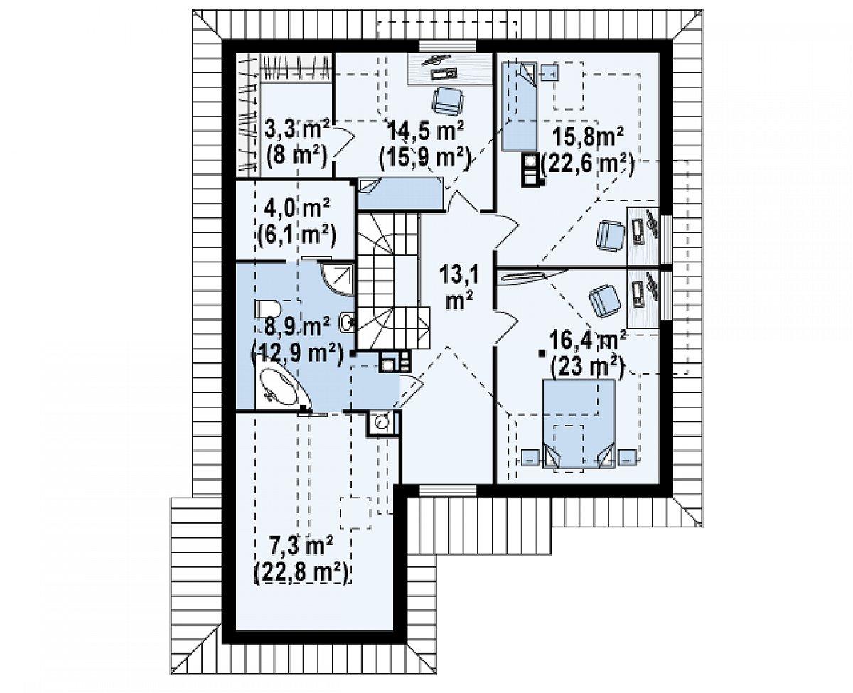 Второй этаж 83,2(124,4м²) дома Z58