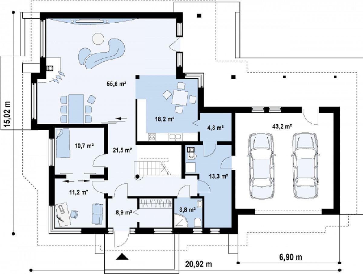 Первый этаж 147,5(190,8м²) дома Z59