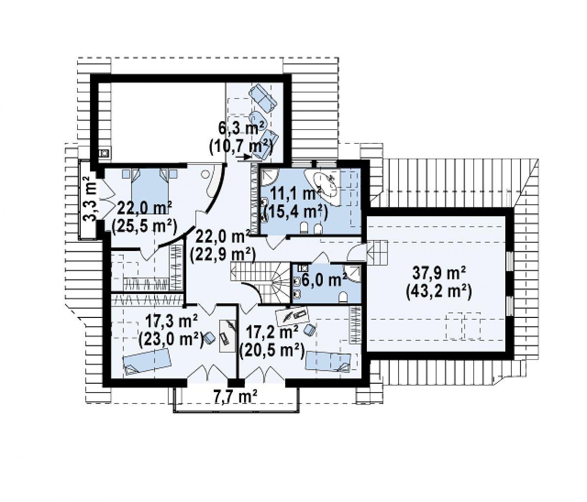 Второй этаж 133,5(155,8м²) дома Z59