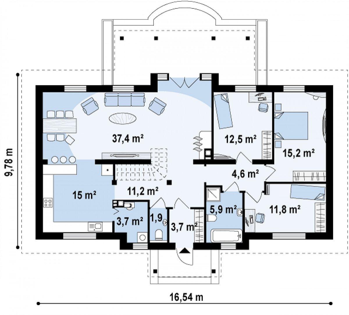 Первый этаж 122,9м² дома Z5