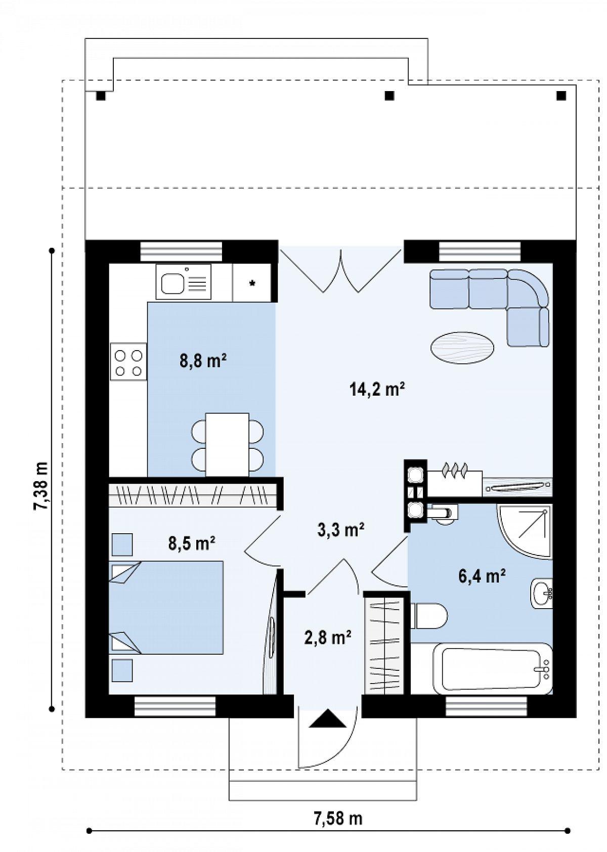 Первый этаж 44,0м² дома Z60