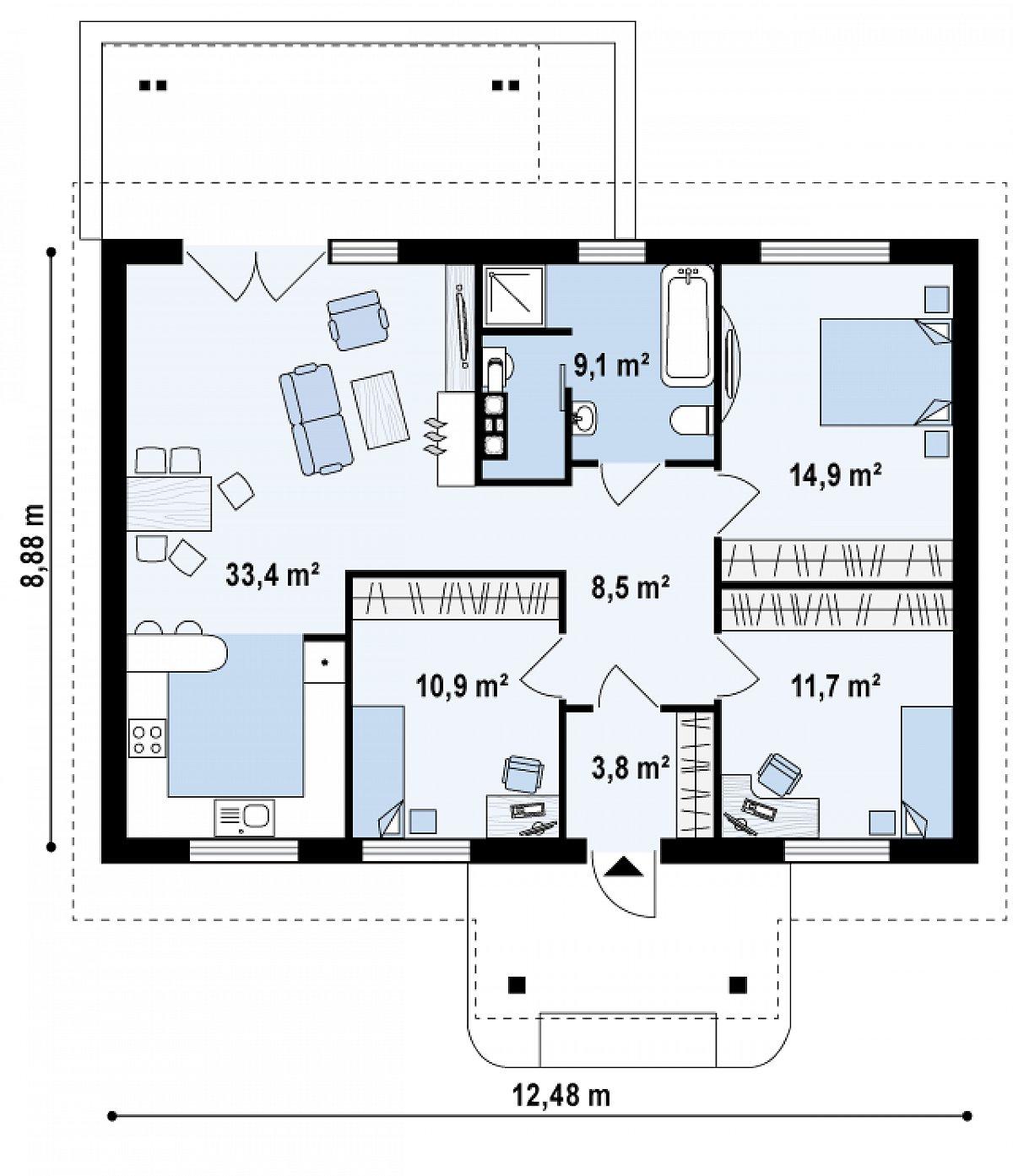 Первый этаж 92,4м² дома Z61