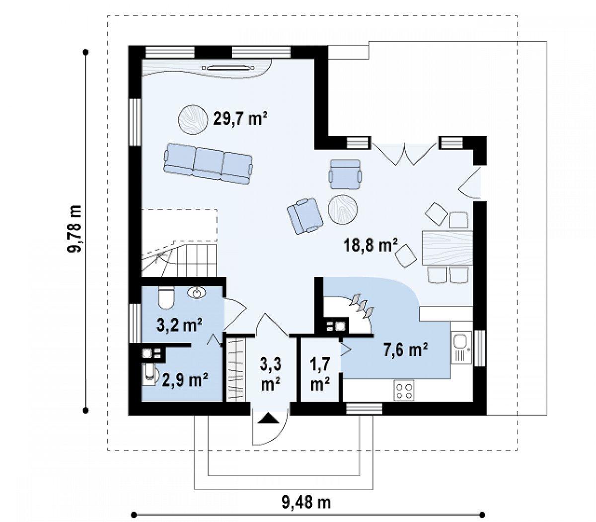 Первый этаж 67,4м² дома Z62