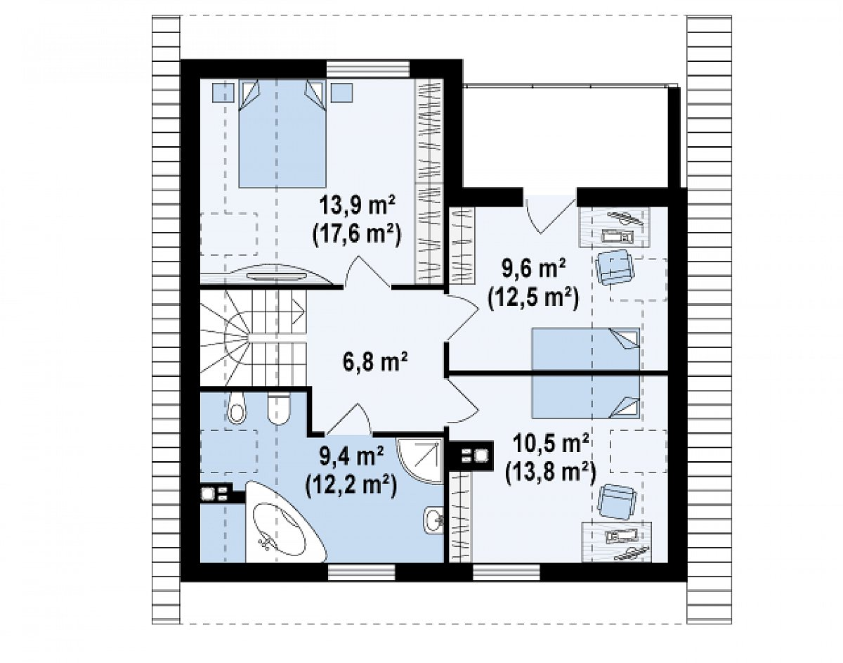 Второй этаж 50,1(62,9м²) дома Z62