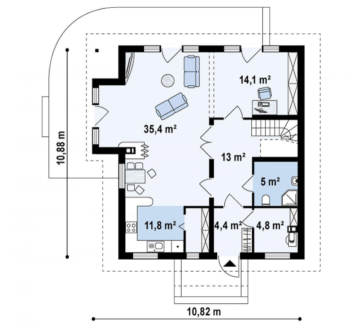 Первый этаж 88,5м² дома Z63