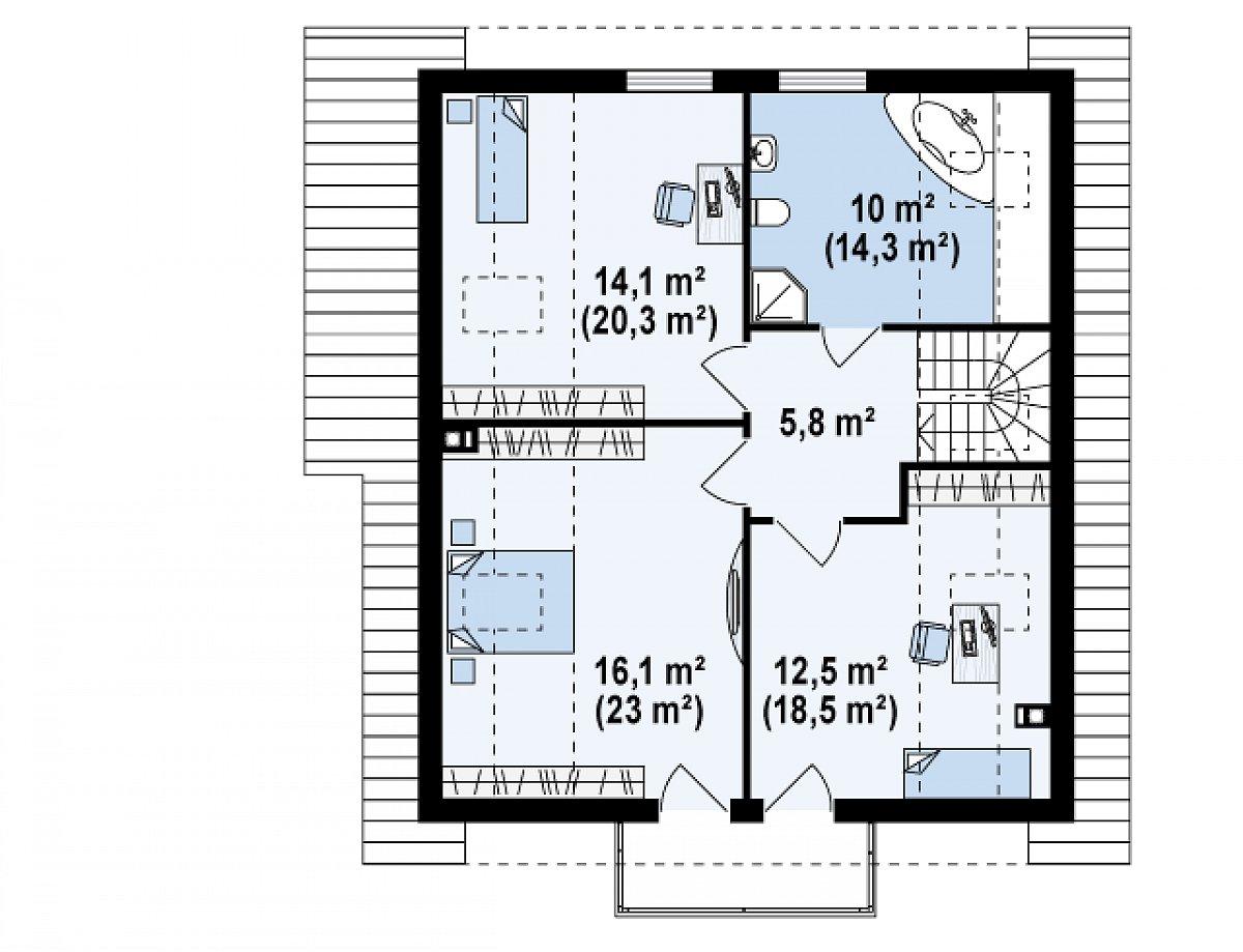 Второй этаж 58,5(81,9м²) дома Z63
