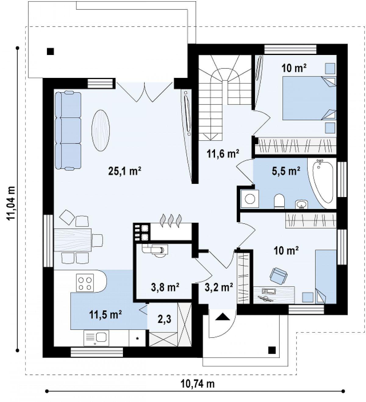 Первый этаж 83,2м² дома Z64 a