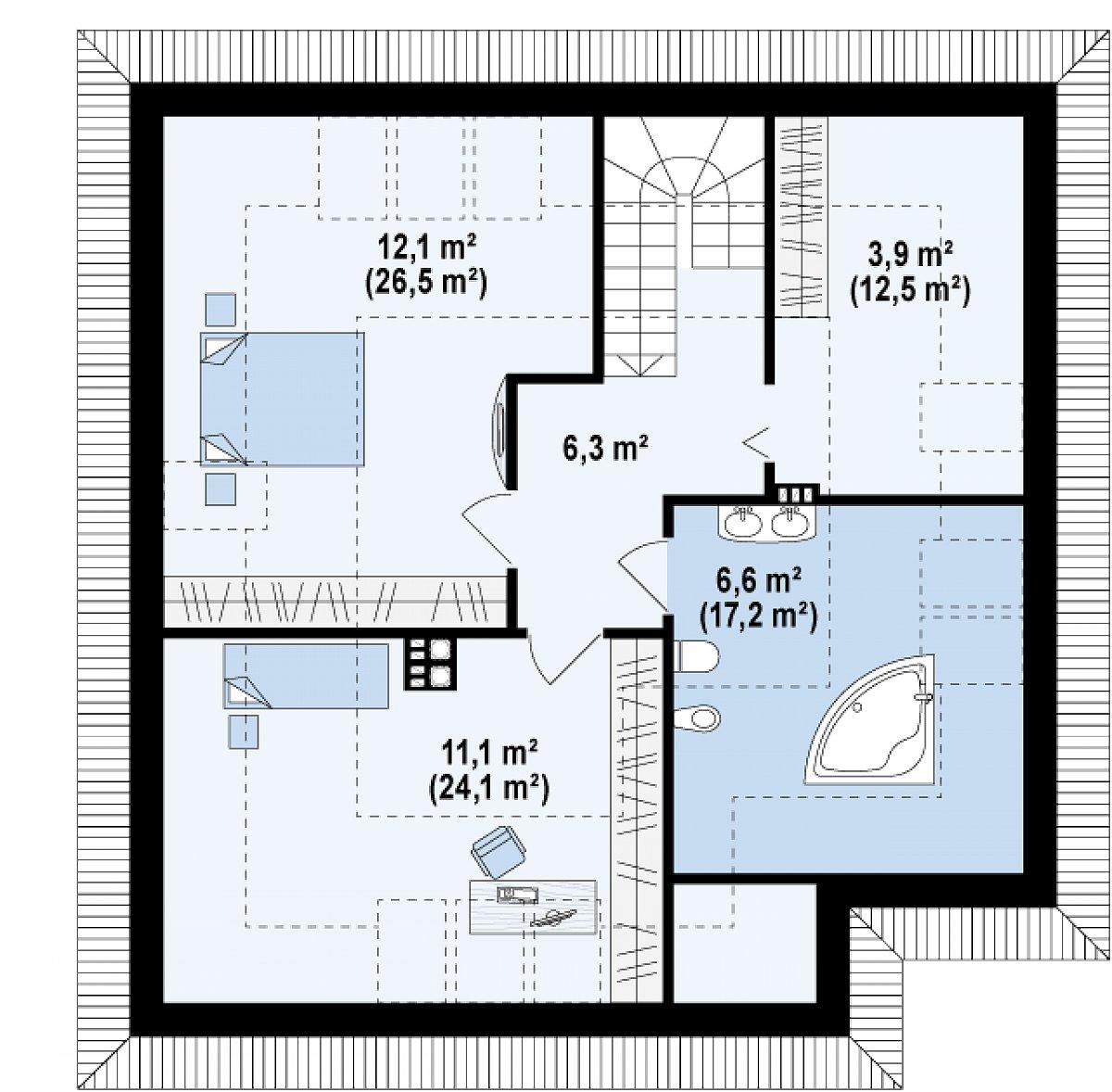 Второй этаж 39,8(86,5м²) дома Z64 a