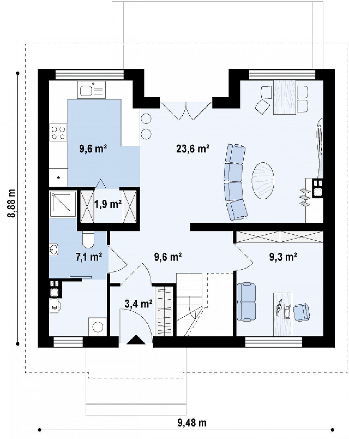 Первый этаж 64,6м² дома Z65