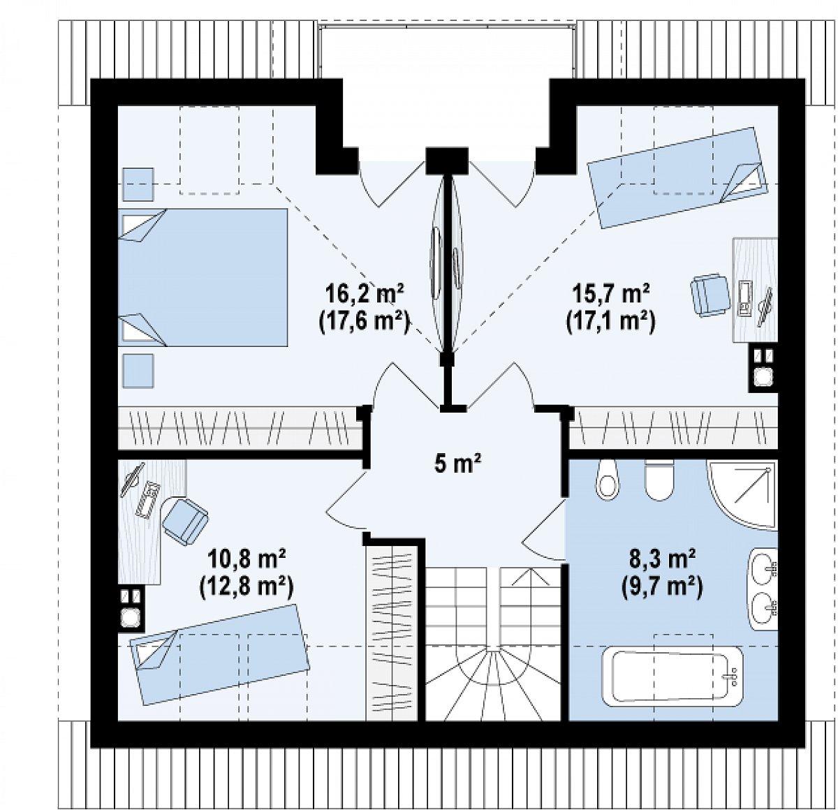 Второй этаж 56,1(62,1м²) дома Z65