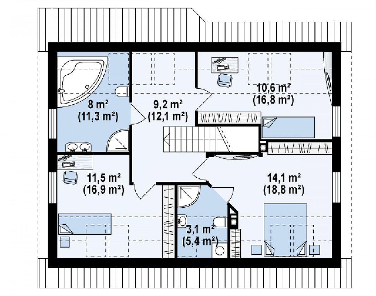 Второй этаж 56,5(81,5м²) дома Z66