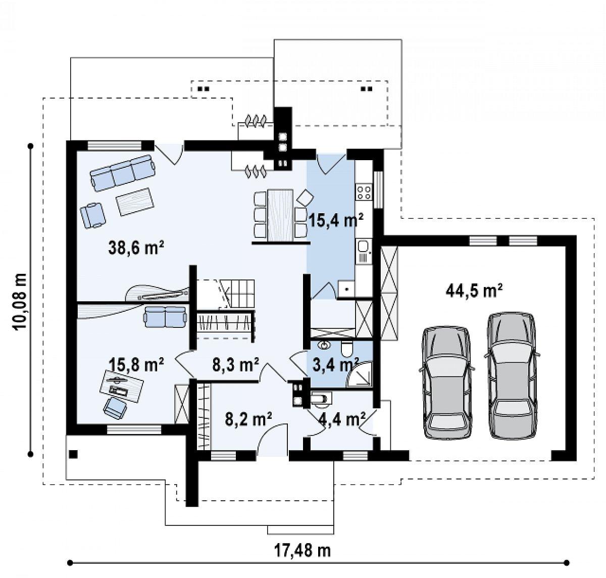 Первый этаж 94,8(139,3м²) дома Z67