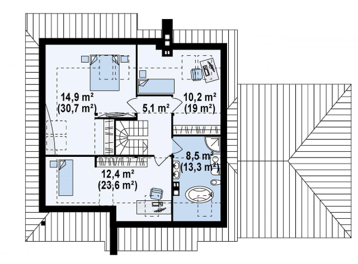 Второй этаж 51,2(94,8м²) дома Z67