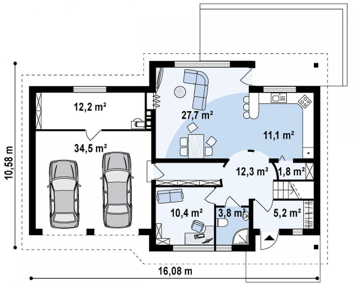 Первый этаж 84,5(119,0м²) дома Z68 GL2