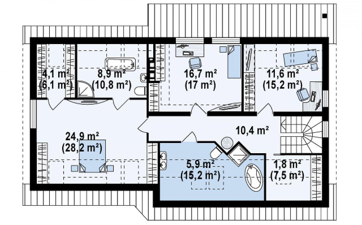 Второй этаж 85,3(111,0м²) дома Z68 GL2