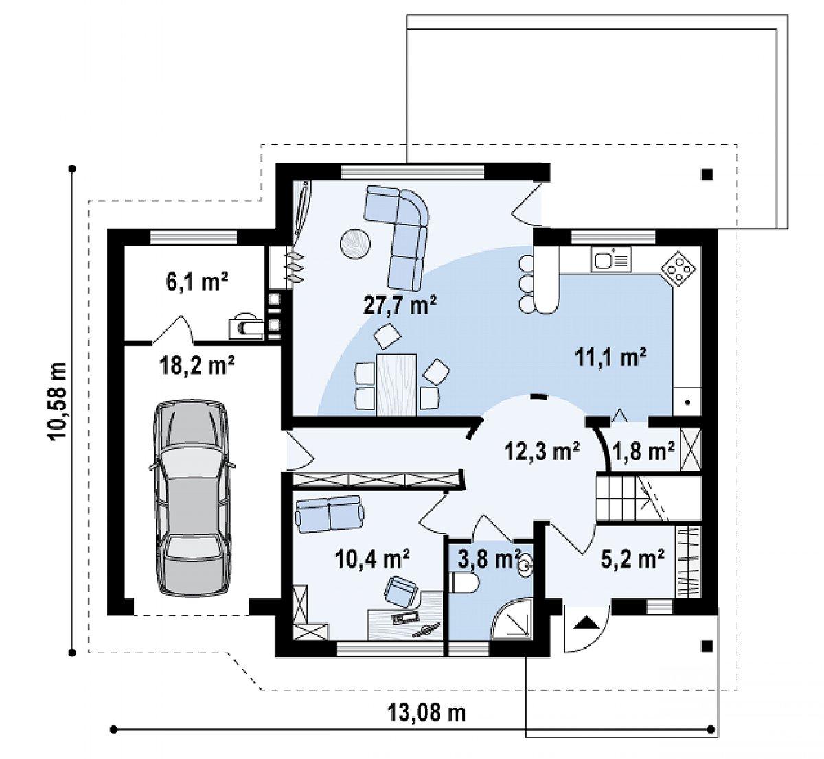 Первый этаж 78,4(96,6м²) дома Z68