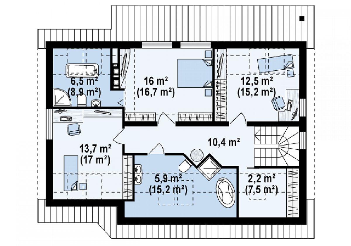 Второй этаж 67,2(91,1м²) дома Z68